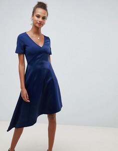 Атласное платье миди ASOS DESIGN - Темно-синий