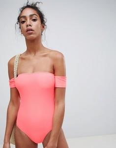 Слитный купальник с открытыми плечами New Look - Розовый