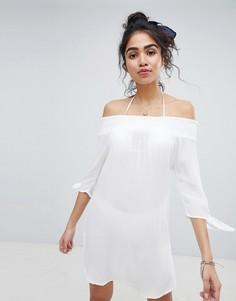 Присборенное пляжное платье New Look - Белый