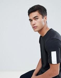 Длинная футболка с рукавами в полоску Jack & Jones Core - Черный