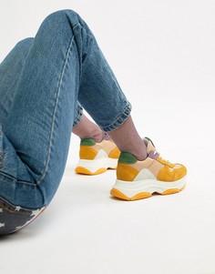 Массивные кроссовки горчичного цвета с замшевыми вставками Steve Madden Zela - Мульти