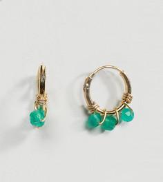 Позолоченные серьги-кольца с бусинами Orelia - Золотой