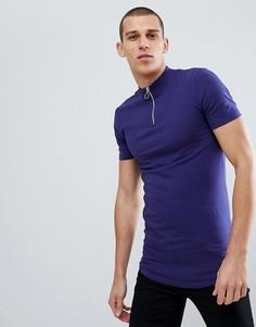 Синяя облегающая удлиненная футболка с молнией, высоким воротом и асимметричным краем ASOS DESIGN - Синий