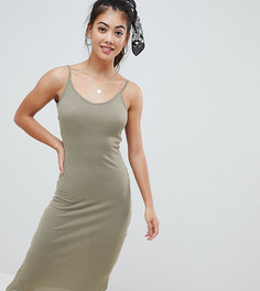 Платье миди в рубчик с глубоким вырезом на спине Brave Soul Petite Ella - Зеленый