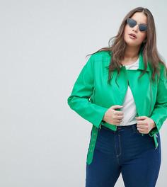 Полиуретановая байкерская куртка ASOS DESIGN Curve Ultimate - Зеленый