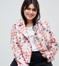 Байкерская куртка из полиуретана с цветочным принтом ASOS DESIGN Curve - Мульти