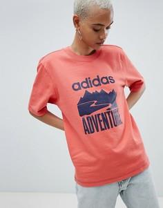 Темно-розовая oversize-футболка Adidas Originals Adventure - Красный