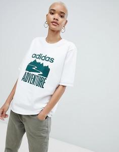 Белая oversize-футболка Adidas Originals - Белый