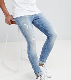 Синие джинсы скинни в винтажном стиле с рваной отделкой ASOS DESIGN Tall - Синий
