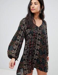 Платье с принтом и длинными рукавами Raga - Черный