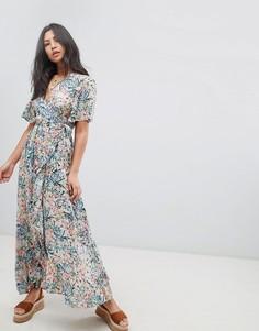 Платье макси с запахом и цветочным принтом Raga - Синий
