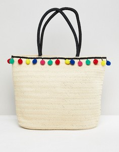 Соломенная пляжная сумка с помпонами 7X - Бежевый