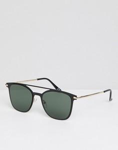 Солнцезащитные очки в золотисто-черной оправе с затемненными стеклами ASOS DESIGN - Золотой