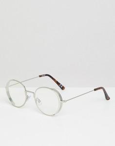 Круглые серебристые очки в металлической оправе ASOS DESIGN - Серебряный