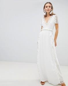 Ажурное платье макси The Jetset Diaries Prairie - Белый
