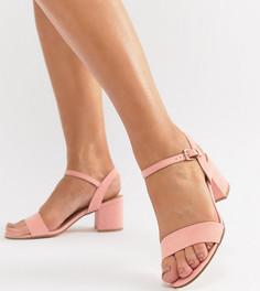 Босоножки на среднем блочном каблуке для широкой стопы London Rebel - Розовый
