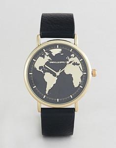 Часы с принтом карты в винтажном стиле ASOS DESIGN - Черный