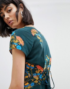Чайное платье с цветочным принтом и завязкой на спине Weekday - Мульти
