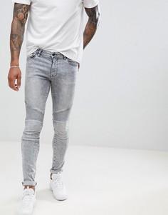 Серые супероблегающие джинсы с эффектом кислотной стирки ASOS DESIGN - Серый