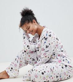 Пижамный комплект с брюками из 100% модала ASOS DESIGN Curve - Мульти