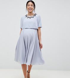 Приталенное платье миди с кроп-топом и 3D-отделкой ASOS DESIGN Maternity - Мульти