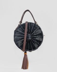 Круглая соломенная сумка через плечо South Beach - Черный