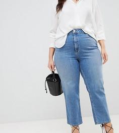 Выбеленные голубые джинсы прямого кроя с завышенной талией ASOS DESIGN Curve Farleigh - Синий
