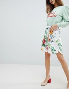 Удлиненные шорты с цветочным принтом Soaked In Luxury - Белый