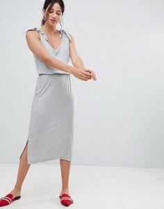 Трикотажное платье миди с завязками на плечах Vero Moda Aware - Серый