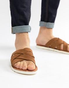 Светло-коричневые замшевые сандалии с перекрестными ремешками ASOS DESIGN - Рыжий