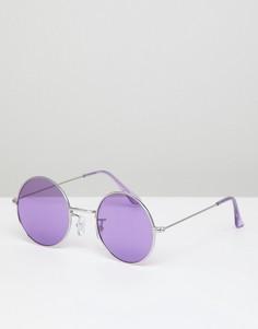 Сиреневые круглые солнцезащитные очки с затемненными стеклами Jeepers Peepers - Фиолетовый