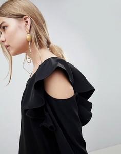 Блузка с вырезами на плечах Selected Kassia - Черный