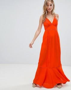 Платье макси с вышивкой ришелье ASOS DESIGN - Красный