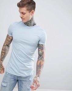Синяя удлиненная облегающая футболка с асимметричным краем ASOS DESIGN - Синий