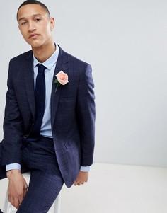 Темно-синий приталенный пиджак в клетку Moss London Wedding - Темно-синий