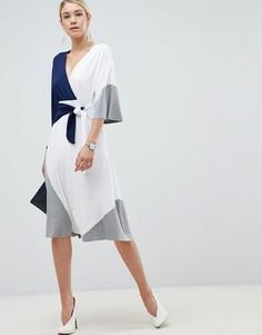 Платье миди в стиле колор блок ASOS DESIGN - Мульти