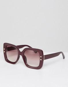 Бордовые большие солнцезащитные очки в квадратной оправе AJ Morgan - Красный