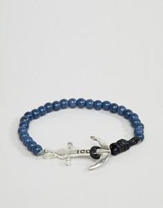 Браслет из бусин темно-синего цвета с застежкой в виде якоря Icon Brand - Темно-синий
