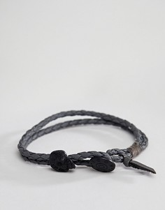 Серый кожаный плетеный браслет с бусиной-черепом Icon Brand - Серый