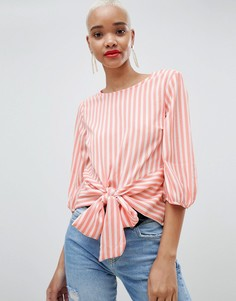 Блузка в полоску с завязкой Pieces - Мульти