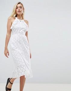 Платье миди с вышивкой ришелье и открытой спиной ASOS DESIGN - Белый