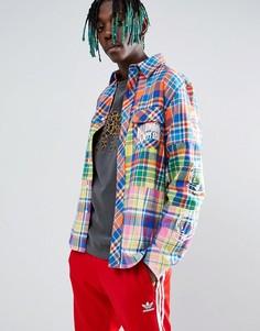 Рубашка в разноцветную клетку с принтом на рукаве Billionaire Boys Club - Мульти