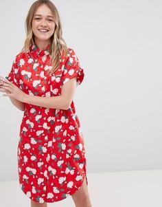 Платье-рубашка в горошек с цветочным принтом Monki - Красный