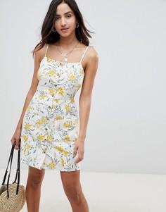 Летнее платье мини на пуговицах с цветочным принтом ASOS DESIGN - Мульти
