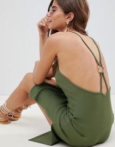 Платье миди в рубчик с кольцом ASOS DESIGN - Зеленый