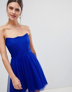 Приталенное платье-бандо мини из добби ASOS DESIGN - Синий