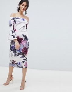 Платье миди с цветочным принтом, широким вырезом и оборками True Violet - Мульти