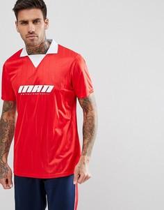 Красное футбольное поло с принтом boohooMAN - Красный