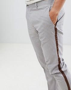 Серовато-бежевые брюки скинни в клетку с отделкой кантом River Island - Кремовый