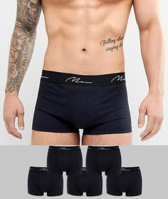 Набор из 5 черных боксеров-брифов boohooMAN - Черный